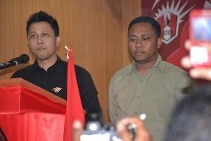Ketua Presedium GMNI terpilih Crisman Damanik (Depan), Sekjen terpilih Pius A Bria (belakang)